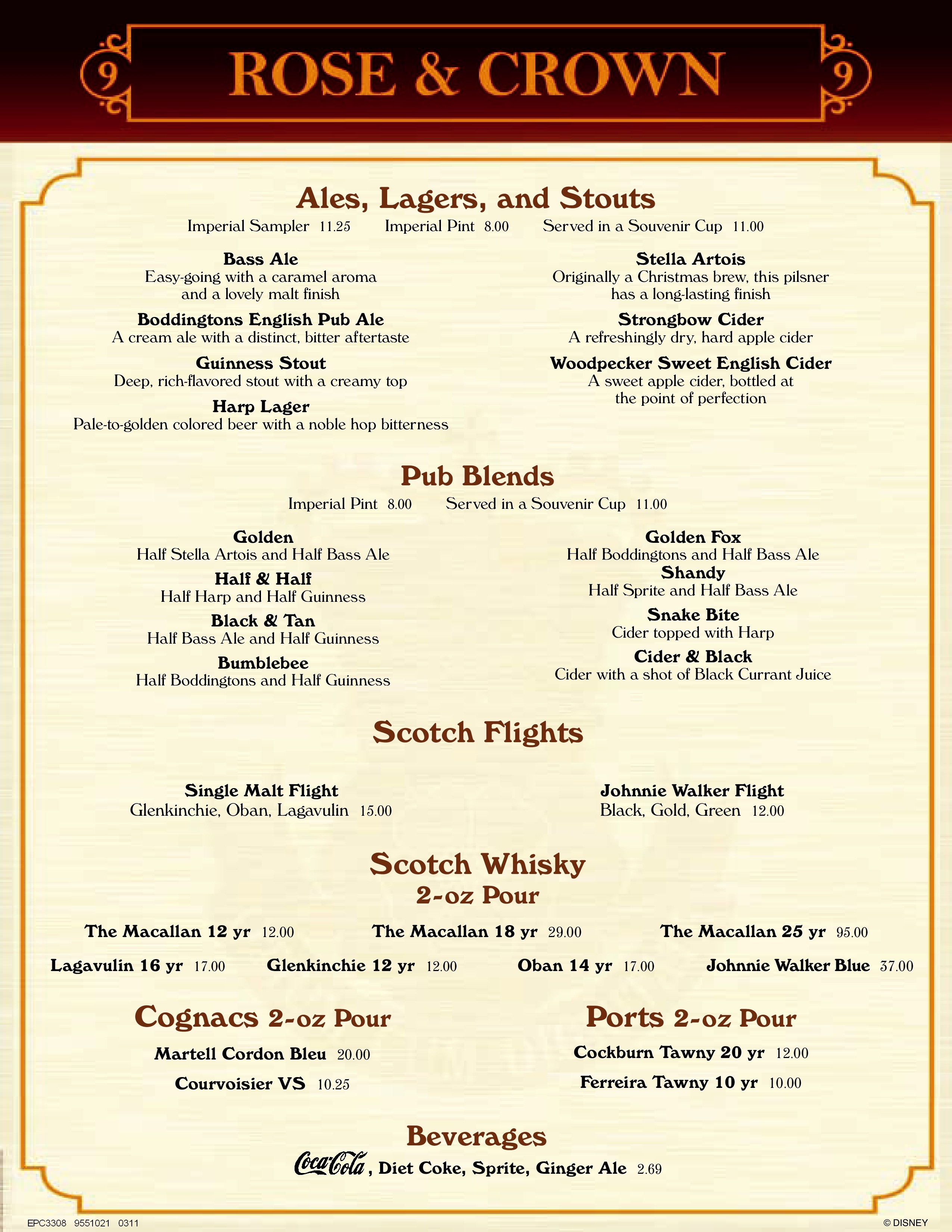 menu: rose & crown pub and dining rooml - epcot united kingdom