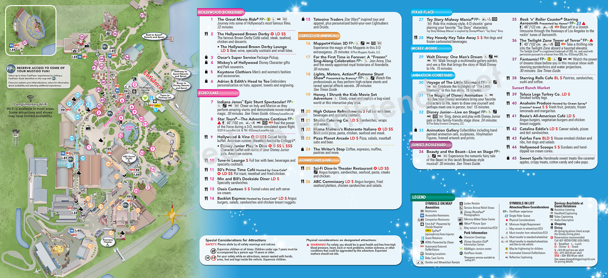 Printable 2016 Hollywood Studios Map Calendar Template 2016